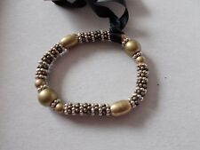 Silver Colour Beads Bangle with Gold and