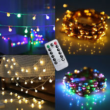 200LED Battery Fairy String Lights Wire Copper Globe Bulb With Remote Party Xmas