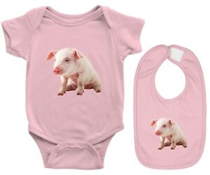 Baby Bodysuit One Pieces & Bib Set Rib Romper Clothes Gift Cute Baby Pig Piggy