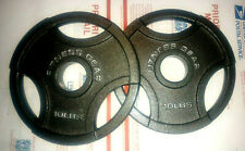"(2) 10 lb Fitness Gear Olympic Cast Iron Weight Plates 2"" NEW"