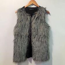 DESIGN HISTORY Mongolian Vest S/M Faux Fur Open Sweater Knit Back Black Gray