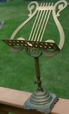 Vintage Brass Lyre Harp Table Top Adjustable Sheet Music Book Note Stand