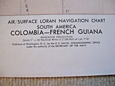 VINTAGE NAVIGATIONAL CHART - COLOMBIA - FRENCH GUIANA - S. AMERICA - ED. 2 -1968