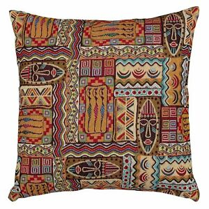 """Traditional African Style Tapestry Cushion. Tribal Mask 17x17"""" Tapestry Cushion."""