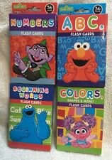 4 Packs Of Sesame Street Flash Cards Numbers Colors Abc's & First Words