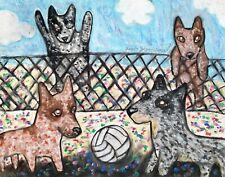 Australian Cattle Dog Art Print 5 x 7 Collectible Signed by Artist Ksams Beach