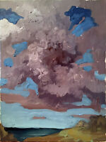 """Cloud Landscape Abstract Original Oil Painting 18""""x24"""" Canvas Signed"""