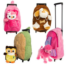 Kid's Plush Convertible 2-in-1 Trolley Rolling Suitcase Backpack Stuffed Animal