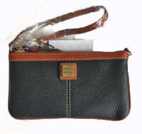 Dooney & Bourke Pebble Leather Large Slim Black Wristlet Wallet