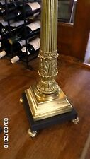 "2745M Vtg ORNATE Footed 49"" Floor Lamp Brass Finish w/Black Accents NO CORROSION"