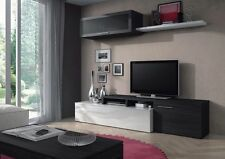 Nicci TV Unit Living Room Set Media Wall White + Ash Grey Melamine Veneer