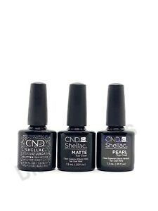 CND Shellac Alluring Trilogy Top Coat Collection Matte, Glitter & Pearl .25oz