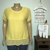Lane Bryant Woman Plus 14W 16W Bright Yellow Layered Knit Chiffon Shirt Top
