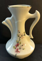 Vintage Capodimonte Creamer Painted Cherry Blossoms Gold Trim 5 Inches Tall