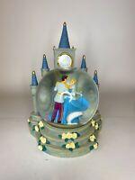 """Disney Cinderella Prince Snow Globe Clock 7"""" Castle """"Believe In Your Dreams"""""""
