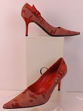 NIB CASADEI PALE PINK CHERRY CANVAS POINTED TOE HIGH HEEL PUMPS 10 ITALY