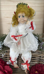"""Fairy Angel Doll Pigtails Freckles Blue Eyes Jelly Fork Spoon Resin? Vtg 15"""""""