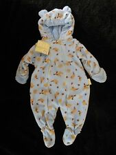 New Blue Animal Print Fleece Cuddlesuit Snowsuit Small 3-6 months  NWT by iplay