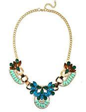 Colorful Jewel Gemstone Statement Necklace - Blue Green Orange