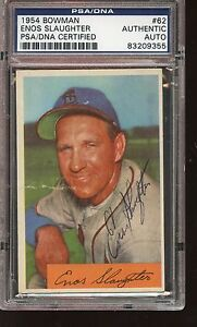 1954 Bowman Baseball Card #82 Enos Slaughter Autographed PSA/DNA Authentic