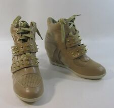 """Brown gold spike 3"""" wedge heel round toe ankle boot. front  strap size   6"""
