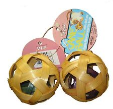 12 pk - Cat Bamboo Cane Ball with another cane ball with bell inside