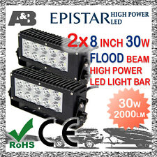 """2x 8"""" 30W A&B 10-LED WORK LIGHT BAR OFF ROAD LAMP 9-32V FLOOD BEAM 2000LM"""