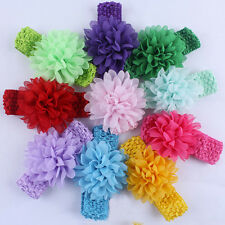 10PCS Bulk Chiffon Flower Knit Kids Baby Girl Headband Hair Bow Band Accessories
