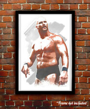 STONE COLD watercolor painting art print/poster WWE WRESTLING FREE S&H!