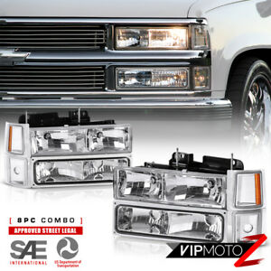 1994-1998 Chevy Silverado Suburban Tahoe CK Chrome Bumper Signal Headlight Lamps