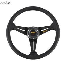 Aluminum Racing Steering Wheel JDM 6 Bolt Black Leather w/ Horn Button 350mm