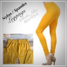 Mustard Yellow Gold Nylon / Spandex Leggings NEW Stretch Pants Footless