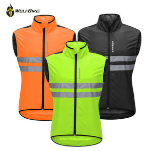 Men's Cycling Vest Sleeveless Jacket Windbreaker MTB Bike Reflective Hi Vis Coat