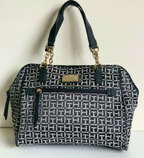 NEW! TOMMY HILFIGER BLACK / NATURAL BOWLER GOLD CHAIN SATCHEL TOTE BAG PURSE $85