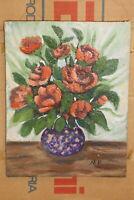 quadro olio su tela tavola fiori composizione vaso antico vintage cornice legno