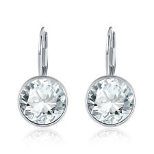 Swarovski Elements Crystal Round Bella Pierced Earrings Rhodium Authentic 7167z
