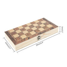 3 in 1 Folding Wooden Chess Set Board Game Chess Checkers Backgammon Draughts