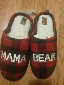 "NEW Dearfoams ""Mama Bear"" Women's Clog Slippers Red/Black Plaid Faux Fur Lined"