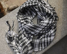 Arab Shemagh Keffiyeh Military Tactical Black and White Scarf Shawl Kafiya Wrap