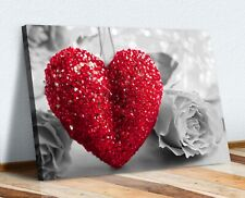 HEART ROSE LOVE PICTURE CANVAS WALL ART PRINT ARTWORK FRAMED POSTER