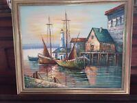 Lg MAX SAVY Vintage Nautical Harbor Scene Oil Painting...amazing Painting...
