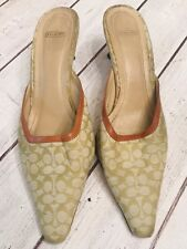 Coach Size 7 1/2 cc monogram kitten heels mules open back leather trim, stylish!