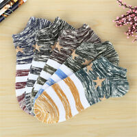 5 Pair Men Striped Cotton Blend Short Socks Ankle Low Cut Invisible Casual Socks