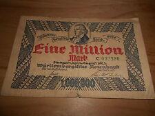 Württembergische Notenbank 1 Million Mark Notgeld von 1923