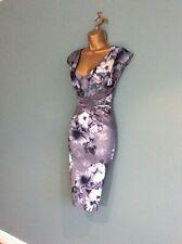 Lipsy Blue Alana Floral Bodycon Dress Shimmer detail Size UK 8 US 4 Eu 36 New