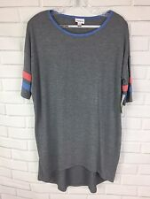 New Lularoe Irma Gray Shirt top tee with striped sleeves red & blue, Size XXS