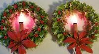 Vtg Holly Wreaths Plastic Electric Flame Style Candles Poinsettia