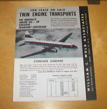 TWIN ENGINE TRANSPORTS CONVAIR 340/440 DAKOTA DC-3 MARTIN 202 SALES LIST WOLD NY