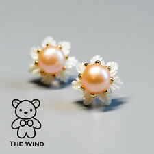 Mother of Pearl Flower Stud Earrings Natural Pink Pearl 925 Sterling Silver Gold