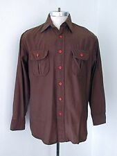 Vgc Vtg 70s Chocolate Brown Nylon Corduroy Cord Disco Pimp Shirt Chest Pockets L